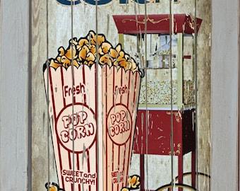 Home Theater Movie Cinema Snack Bar Home Decor Rec Room Popcorn Machine Concessions Sign