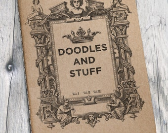 "Handmade Pocket Notebooks - Vintage Illustration - ""Doodles and Stuff"""