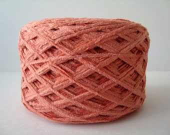 Yarn, Cotton Chenille 100g balls Light Peach Pink , soft and textured.