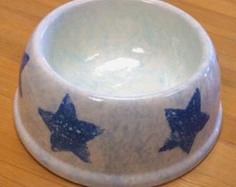 Cute Blue Stars Dog Food Water Bowl
