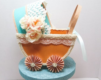 Baby buggy cake topper