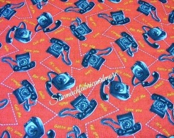 Bye Bye Birdy fabric by Windham Fabrics~ by the 1/2 yard~American Vintage~phones~telephones on red