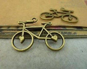 25pcs 23x30mm Antique Bronze Lovely bicycle Charm Pendant c4023