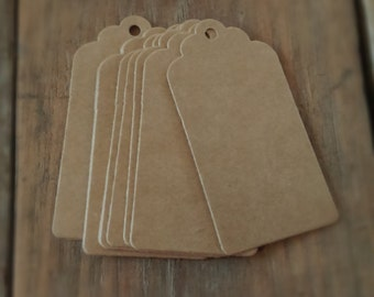 50 luggage tags 7cm by 4cm, Retro Gift Tag, Scallop Blank Labels, Brown luggage tags, Luggage label, gift tag, Luggage tags