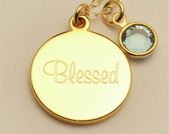 Small Custom Engraved Blessed Charm Necklace, Communion Gift Personalized Necklace, Personalized Jewelry