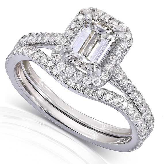 Emerald Cut Halo Diamond Bridal Set 1 1 2 Carat ctw in 14k