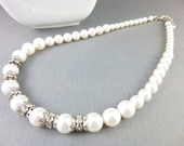 White Swarovski Pearl Necklace, Wedding Necklace, Boho Bridal Pearl Necklace, Pearls & Bling