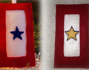 Blue and Gold Star Service Banner ornaments