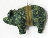 Small Green Gold Floral Pig Christmas Ornament, Tree Ornament, Pig Ornie