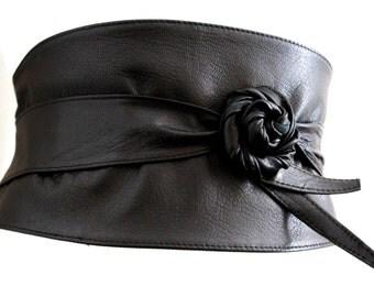 Black Wide Corset Obi Belt Soft Leather | Wide Waist Belt | Leather obi belt | Corset Belt | Plus size belts