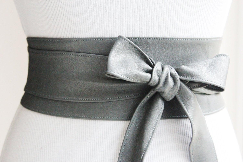 grey obi belt leather wrap belt waist tie belt by loveyaayaa