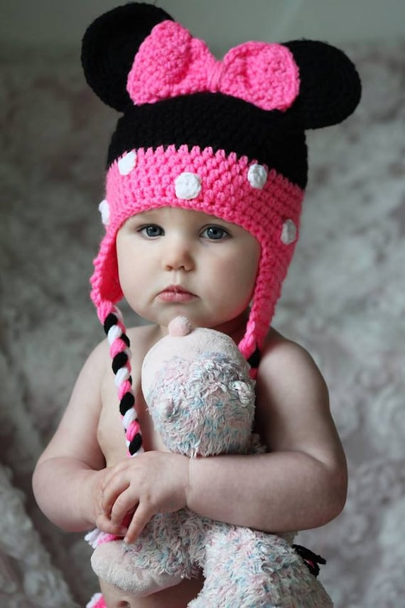 Free Minnie Mouse Crochet Hat Pattern With Ear Flaps : crochet Minnie mouse hat with ear flaps an by ...