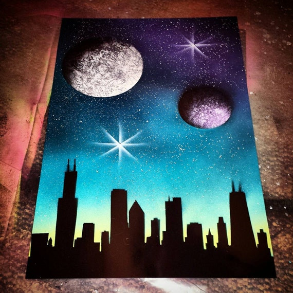 chicago skyline space painting spray paint art. Black Bedroom Furniture Sets. Home Design Ideas