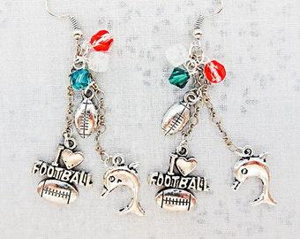FOOTBALL EARRINGS, football jewelry, football charm, charm earrings, charm jewelry, sports earrings, sports jewelry, dolphin charm - 0305
