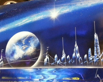 new york spray paint art 14 in x 22 in space painting. Black Bedroom Furniture Sets. Home Design Ideas