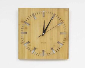 Bamboo Unique Wall Clock -  Square Index