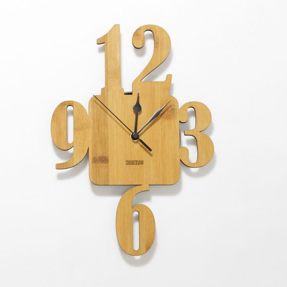 Items Similar To Bamboo Unique Wall Clock 3 6 9 On Etsy