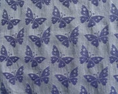 """Vintage Fabric-Sold By the half Yard-Priced by the Half Yard-36"""" Wide-Cotton Fabric-Blue Grey Background-Denim Blue Butterflies-Prewashed"""