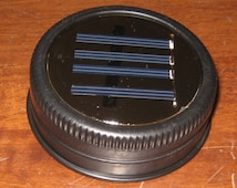 Set of 8 Mason Jar Solar Lid Lights - Great for Projects and Crafts - Black