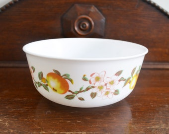 Arcopal Bowl 'Fruity Blossom' French - France milk glass circa 1972 - ships from Canada