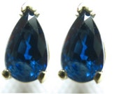 "SALE Blue Sapphire Earrings 14k Gold ""AA"" Pear Shape 7x5mm 1.40 - 1.60 Carats September Birthstone Natural Genuine+Certificate Gift for her,"