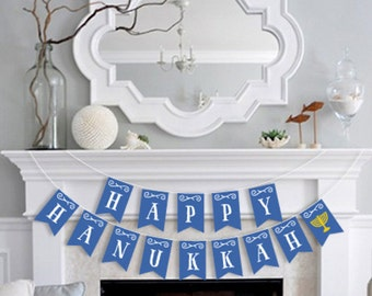 Happy Hanukkah DIY Printable Pennant Banner
