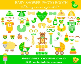 Baby Shower Photo Booth Props–52 Pieces-Instant Download - Printable Baby Shower–DIY Printable Photo Booth Props–Neutral Gender-Girl or Boy