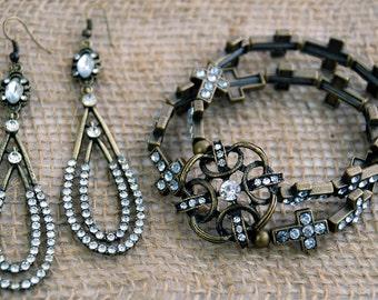 Earthy Antique Gold and Rhinestone Cross-Themed Chunky Bracelet & Dangle Earring Set