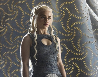 Game of Thrones Daenerys Targaryen dress fabric in Season 4, Daenerys Mereen laser cut dress fabric 1 yard