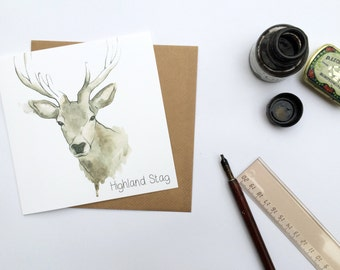 Highland Stag - Scottish Greetings Card - Scottish Artist - watercolour -