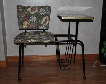 Vintage Gossip Table And Chair With Detachable Lamp And