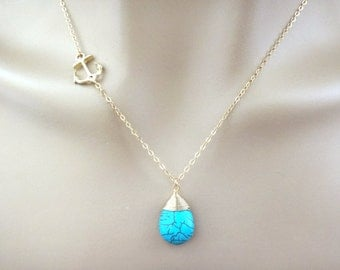 Sideways, Anchor, Turquoise, Stone, Gold filled, Sterling silver, Chain, Gold, Silver, Necklace, Marine, Nautical, Gift