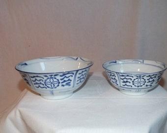 Vintage Blue and White Nesting Bowl Set