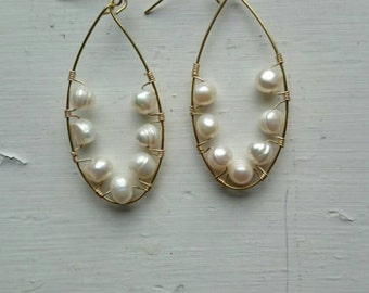 Wrapped pearl earrings
