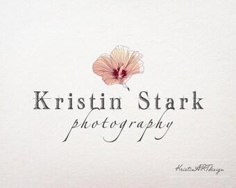 Hand - drawn flower logo, Premade logo, Hybiscus Logo, Photography logo, Floral logo, Watermark 145