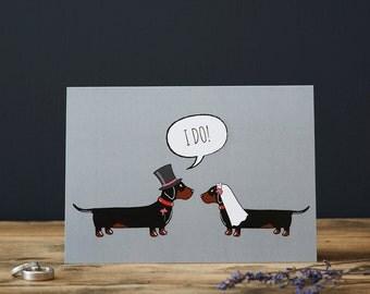 Dachshund wedding or engagement  card