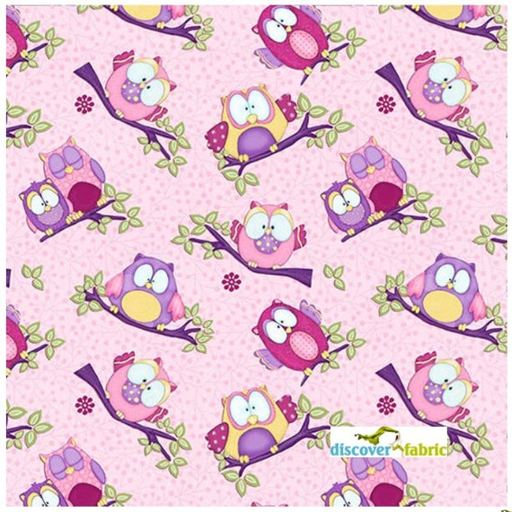 Whoo Me Pink Owls Shelly Comiskey Fabric by discoverfabric