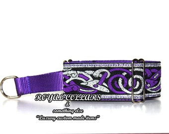 Purple and silver  Luxury Celtic Martingale Collar, 2 Inch Hound Martingale Collar, Wolfhound Martingale,Celtic Dog Collar