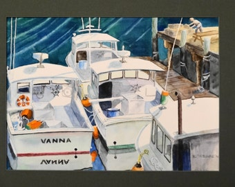 Lobster Boats Watercolor Painting - Maine Harbor Scene Moored Ships Marine Nautical Wall Art