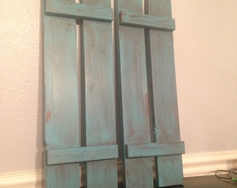 set of 2 cute decorative shutters for home decor counry shabby chic wood shutters - Decorative Shutters