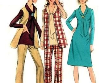 Simplicity 9621 Anytime Dress or Tunic, Vest & Pants 1971 / SZ14 UNCUT