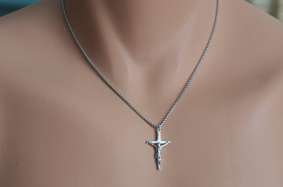Mens cross necklace in sterling silver on oxidized sterling silver box chain.