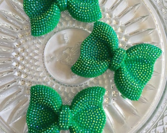 Green Rhinestone Bead Pendant Bows- 3pc Bow Pendant (54mm)