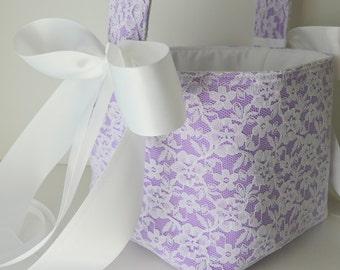 Lace flower basket, custom made in your color selections, shown in white lace and wisteria purple underlay