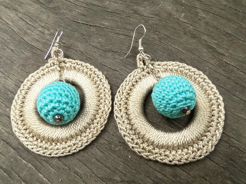 handmade crochet earrings crochet disc hoop earrings hoop