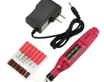 6 in 1 Electric Pen Shape Nail care File Drill Polish Art Manicure Machine tool