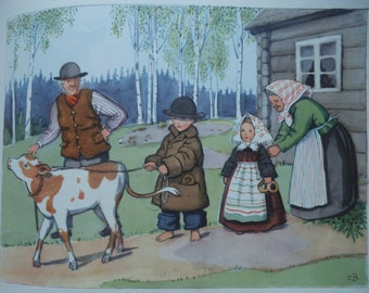 Original Vintage Print ELSA BESKOW 1950 - Calf - Children - Matted - Ready to Frame