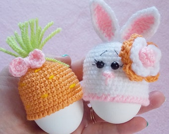 Cozy Duo for easter egg / Crochet / Egg Warmer / Bunny Hat / 3,2 inches / carrots /orange