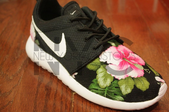 adaa15e27d94 good Nike Roshe Run Black White Hibiscus Floral Print V5 by NYCustoms