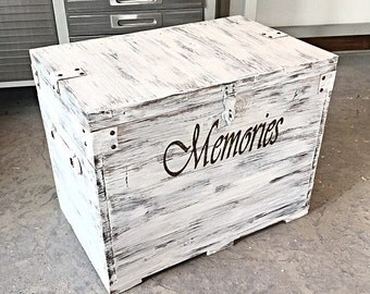 Rustic White Wedding Chest